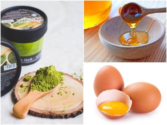 Sử dụng bột trà xanh kết hợp lòng trắng trứng và mật ong