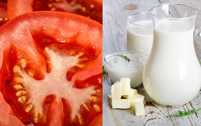 Phương pháp trị mụn bằng cà chua và sữa tươi