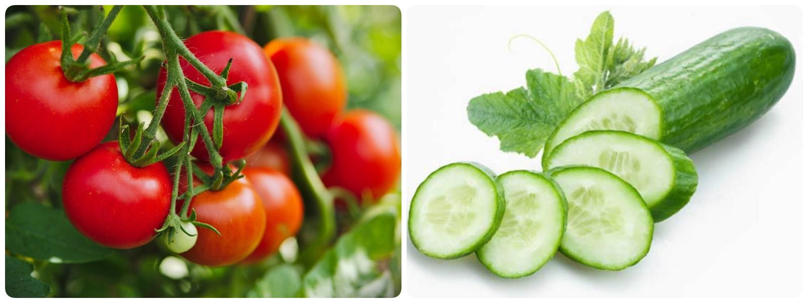 Trị mụn bằng cà chua và dưa leo