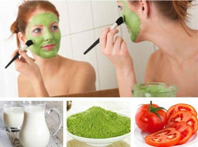 Mặt nạ dưỡng da từ bột trà xanh kết hợp sữa chua và cà chua