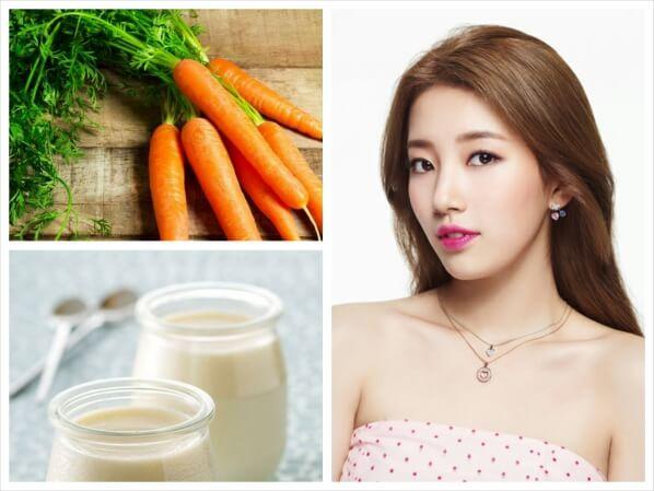 Mặt nạ dưỡng da từ cà rốt kết hợp sữa chua
