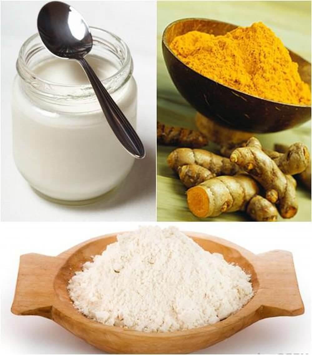 Tinh bột nghệ kết hợp bột gạo và sữa chua không đường