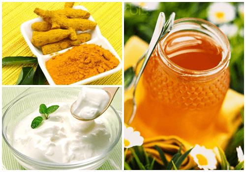 Tinh bột nghệ kết hợp mật ong và sữa chua không đường