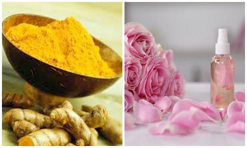 Tinh bột nghệ kết hợp với bột đậu gà và nước hoa hồng