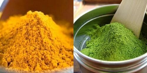 Tinh bột nghệ kết hợp với bột trà xanh