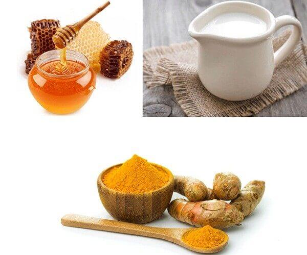 Tinh bột nghệ kết hợp với mật ong và sữa tươi