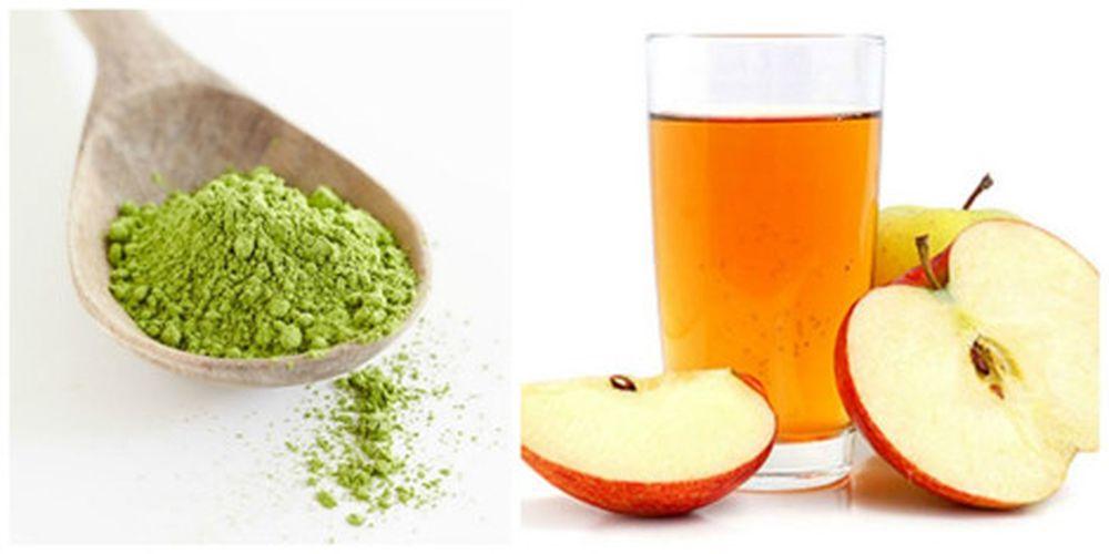 Giấm táo kết hợp với bột trà xanh trị mụn