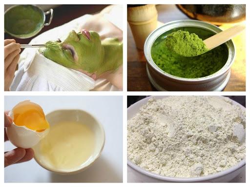 Hỗn hợp bột trà xanh, đậu xanh, lòng trắng trứng gà và mật ong trị mụn