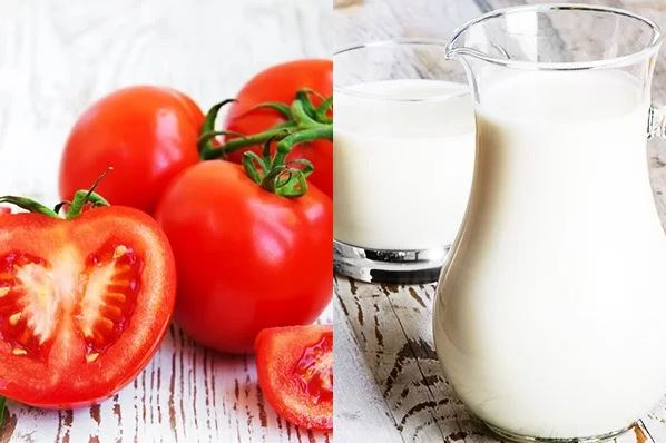Mặt nạ cà chua và sữa tươi không đường trị mụn cám