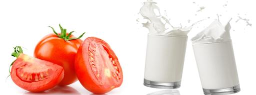 Trị mụn bằng cà chua và sữa tươi không đường