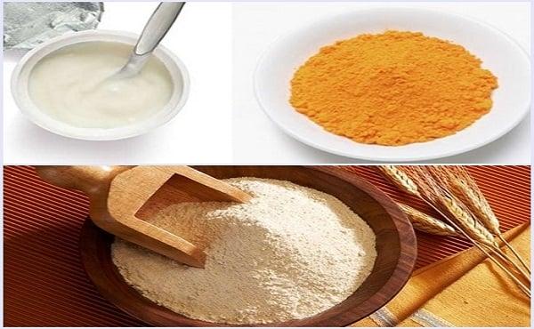 Trị mụn bằng cám gạo và bột nghệ