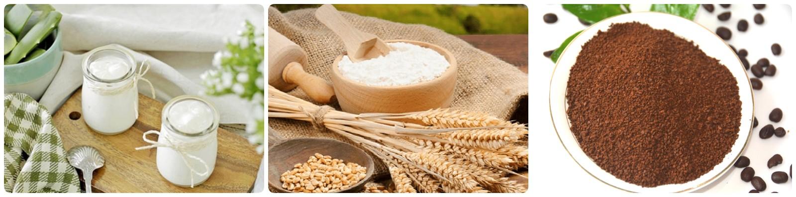Trị mụn với bột cám gạo cùng bột cà phê và sữa chua không đường