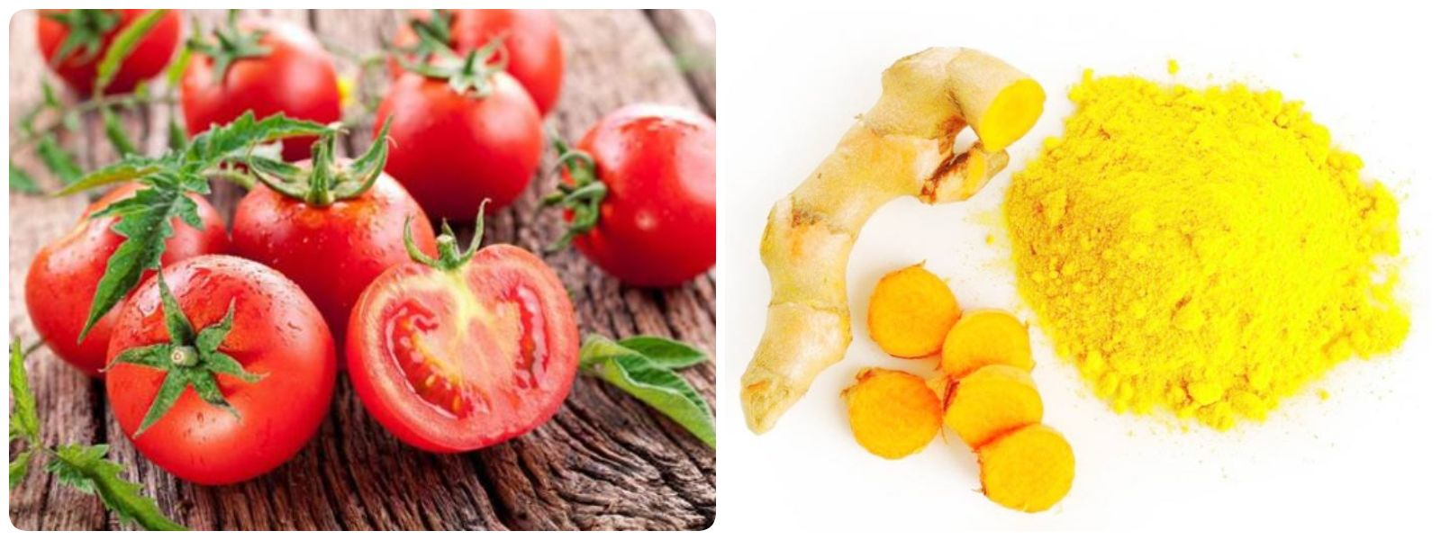 Công thức trị thâm mụn bằng cà chua với tinh bột nghệ