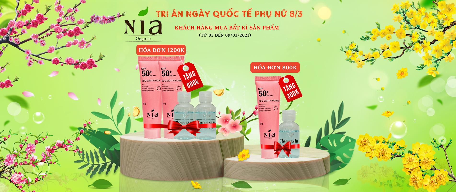 Mỹ phẩm hữu cơ Nia Organic - 100% chiết xuất từ thiên nhiên